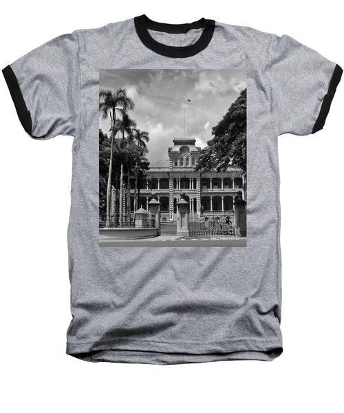 Hawaii's Iolani Palace In Bw Baseball T-Shirt by Craig Wood