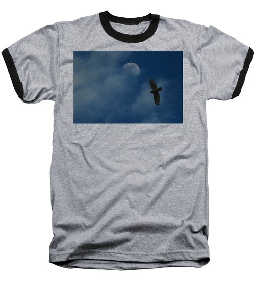 Hawk And Moon Coming Out Of The Mist Baseball T-Shirt by Raymond Salani III