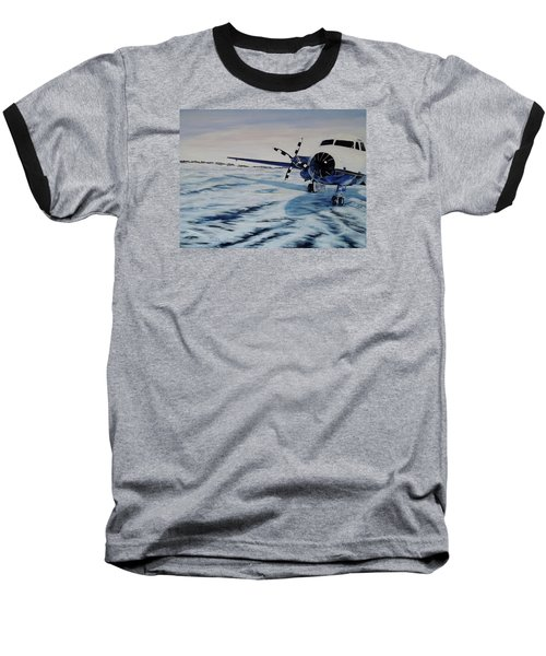 Baseball T-Shirt featuring the painting Hawker - Airplane On Ice by Marilyn  McNish