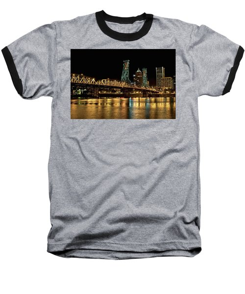 Hawthorne Bridge Over Willamette River Baseball T-Shirt