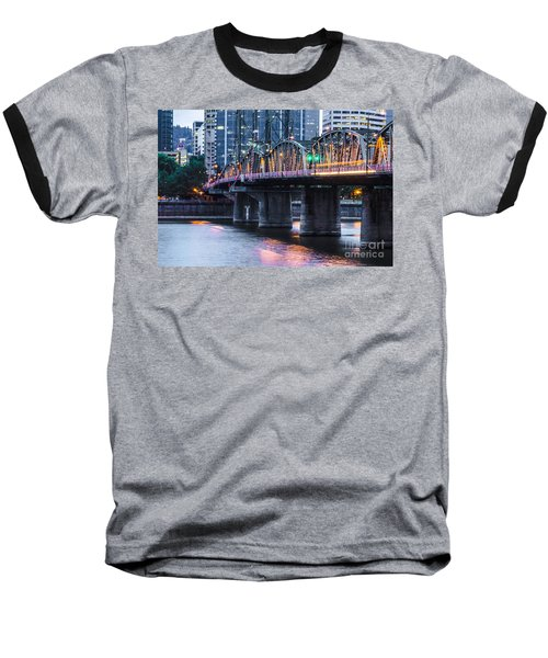 Hawthorne Bridge Portland Oregon Baseball T-Shirt by Patricia Babbitt