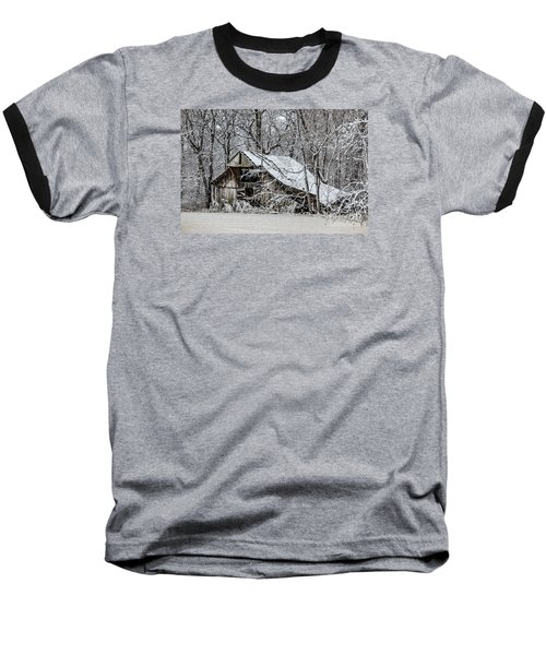 Baseball T-Shirt featuring the photograph Hay Barn In Snow by Debbie Green