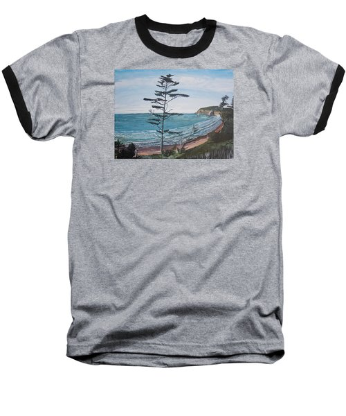 Hay Stack Rock From The South On The Oregon Coast Baseball T-Shirt