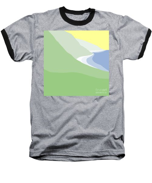 Hazy Coastline Baseball T-Shirt by Henry Manning