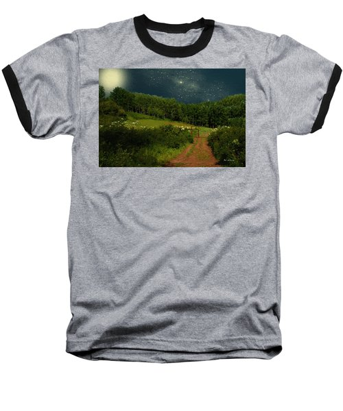 Hazy Moon Meadow Baseball T-Shirt by RC deWinter