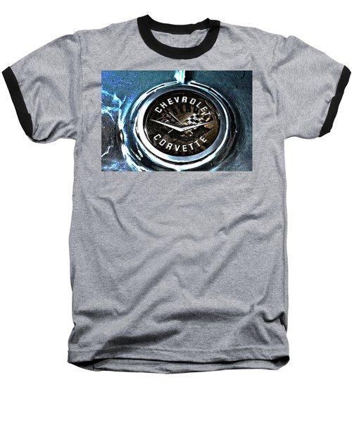 Baseball T-Shirt featuring the photograph Hdr Vintage Corvette Emblem Art by Lesa Fine