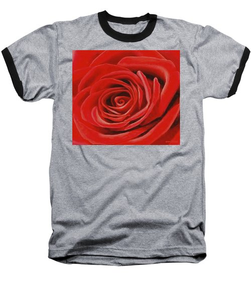 Baseball T-Shirt featuring the painting Heart Of A Red Rose by Sophia Schmierer