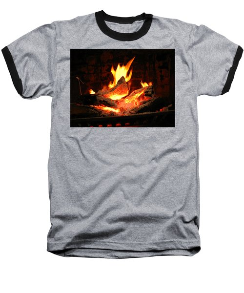 Heart-shaped Ember In Roaring Fire Baseball T-Shirt by Connie Fox