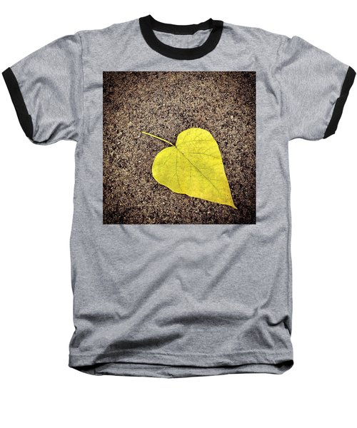 Heart Shaped Leaf On Pavement Baseball T-Shirt