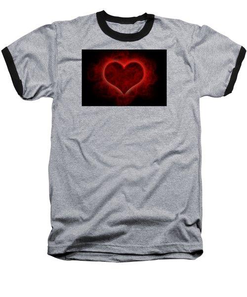 Heart's Afire Baseball T-Shirt by Beverly Stapleton