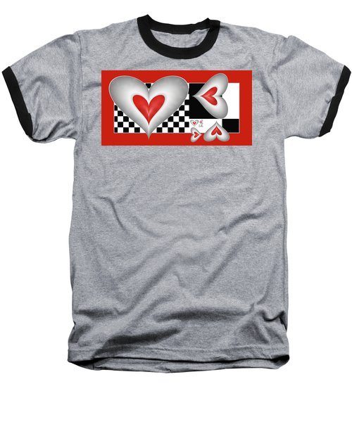 Hearts On A Chessboard Baseball T-Shirt