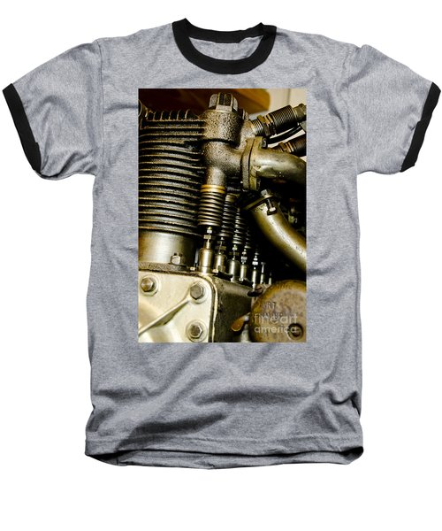 Baseball T-Shirt featuring the photograph Heath-henderson Motorcycle Engine by Wilma  Birdwell