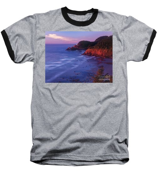 Baseball T-Shirt featuring the photograph Heceta Head Lighthouse At Sunset Oregon Coast by Dave Welling