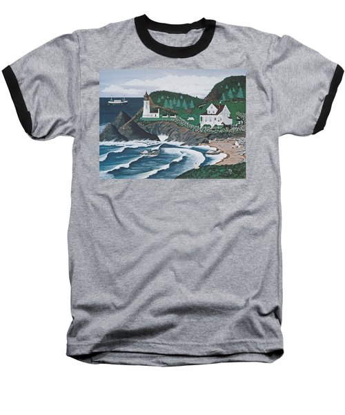 Baseball T-Shirt featuring the painting Heceta Lighthouse by Jennifer Lake