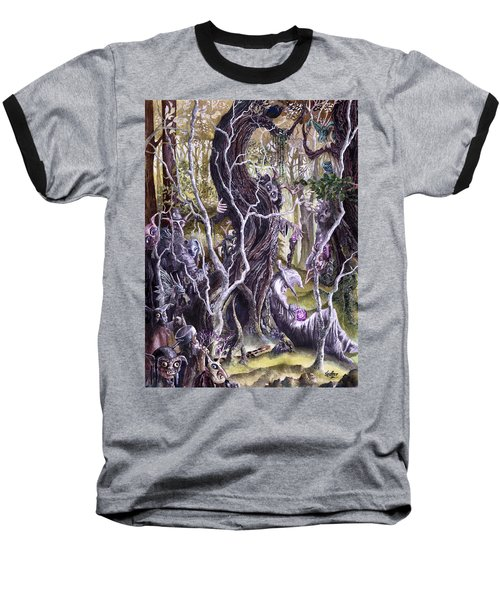 Baseball T-Shirt featuring the painting Heist Of The Wizard's Staff 2 by Curtiss Shaffer