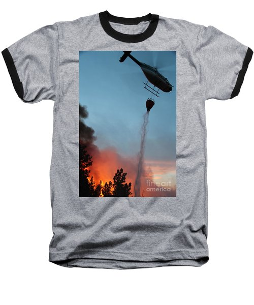Helicopter Drops Water On White Draw Fire Baseball T-Shirt