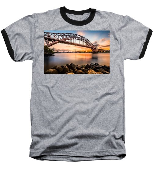 Hell Gate And Triboro Bridge At Sunset Baseball T-Shirt