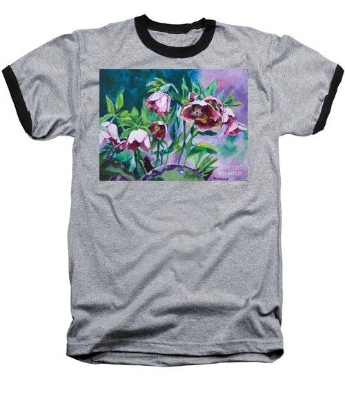 Hellebore Flowers Baseball T-Shirt by Jan Bennicoff
