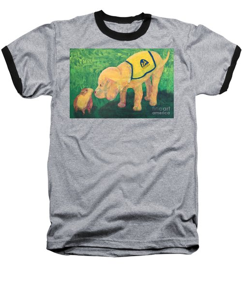 Baseball T-Shirt featuring the painting Hello - Cci Puppy Series by Donald J Ryker III