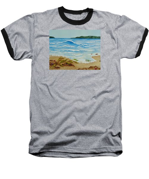 Baseball T-Shirt featuring the painting Hello? by Katherine Young-Beck