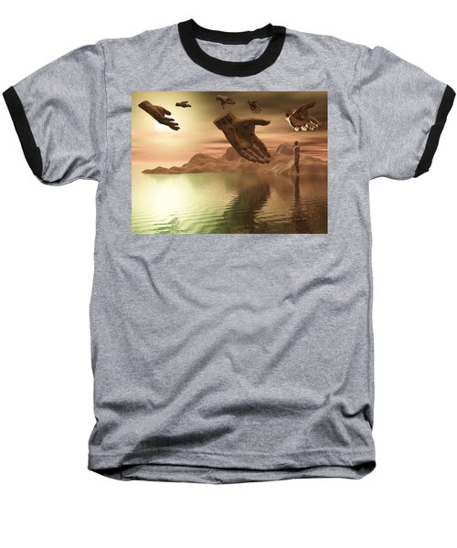 Baseball T-Shirt featuring the digital art Helping Hands by John Alexander