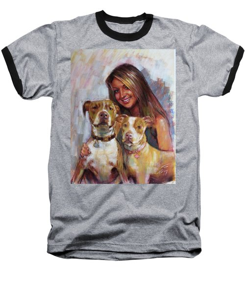 Baseball T-Shirt featuring the drawing Her Best Friends by Viola El