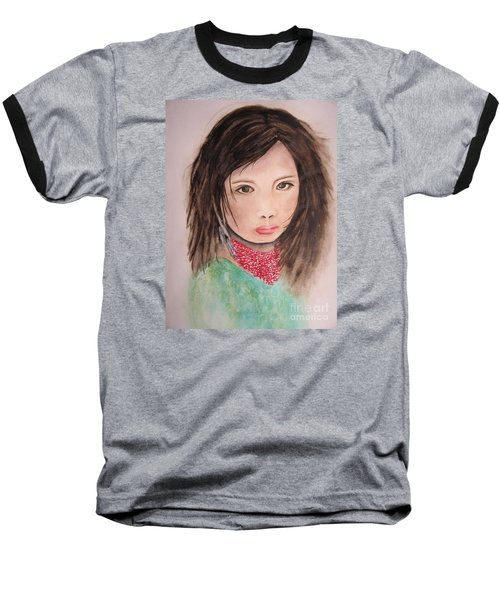 Baseball T-Shirt featuring the painting Her Expression Says It All by Chrisann Ellis