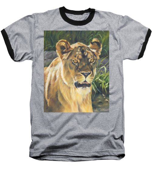 Her - Lioness Baseball T-Shirt by Lori Brackett