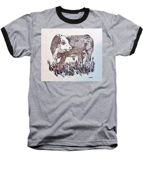 Baseball T-Shirt featuring the drawing Polled Hereford Bull  by Larry Campbell