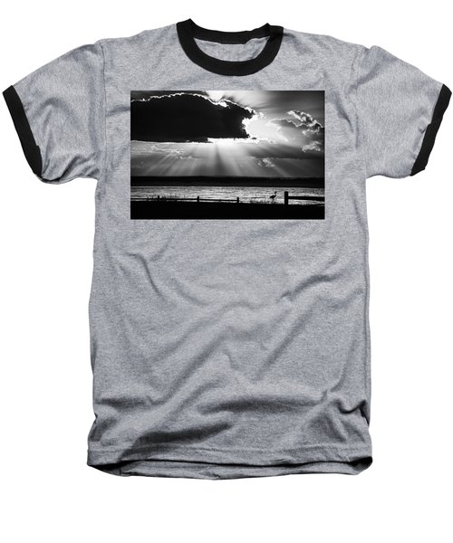 Heron And  The Cloudburst Baseball T-Shirt by Michael Thomas