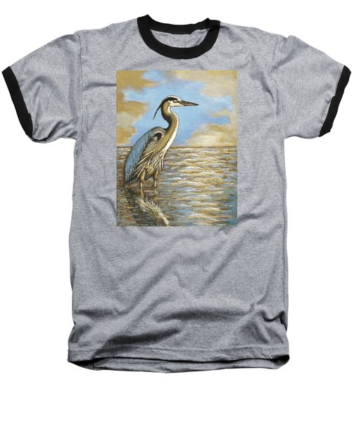 Baseball T-Shirt featuring the painting Heron At Bay by VLee Watson