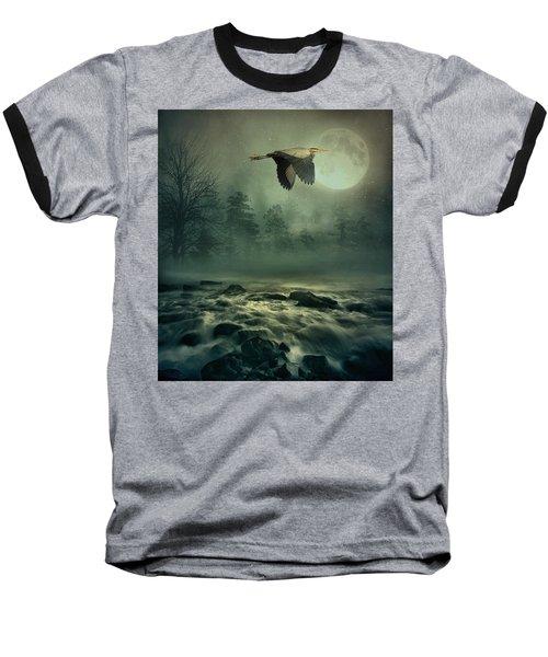 Heron By Moonlight Baseball T-Shirt by Andrea Kollo