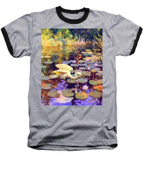 Heron In Lily Pond Baseball T-Shirt