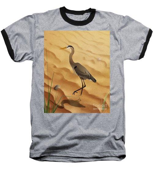 Heron On Golden Sands Baseball T-Shirt