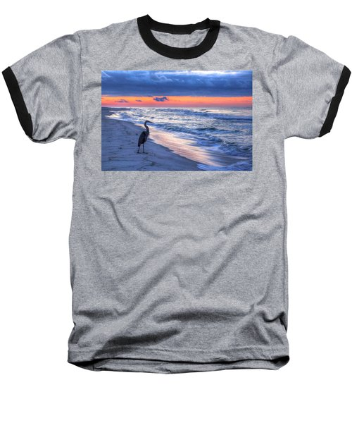 Heron On Mobile Beach Baseball T-Shirt