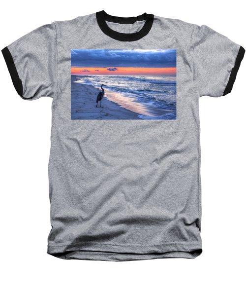 Heron On Mobile Beach Baseball T-Shirt
