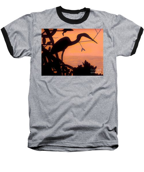 Baseball T-Shirt featuring the drawing Heron Sunset by D Hackett
