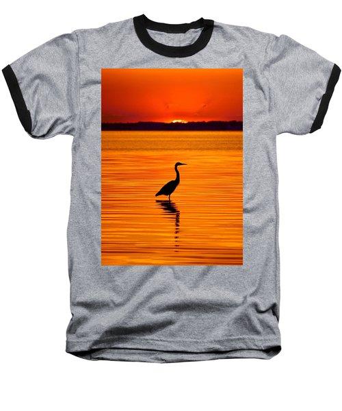 Heron With Burnt Sienna Sunset Baseball T-Shirt