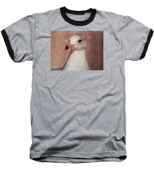 Baseball T-Shirt featuring the photograph Beach Gull On The Hunt by Belinda Lee