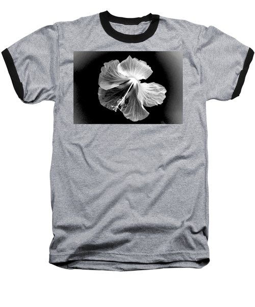 Hibiscus In Black And White Baseball T-Shirt