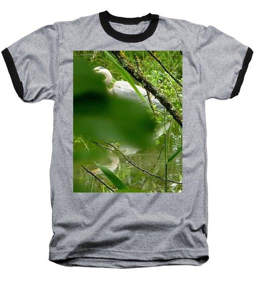 Hidden Bird White Baseball T-Shirt by Susan Garren