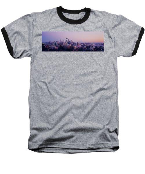 High Angle View Of A City At Sunrise Baseball T-Shirt