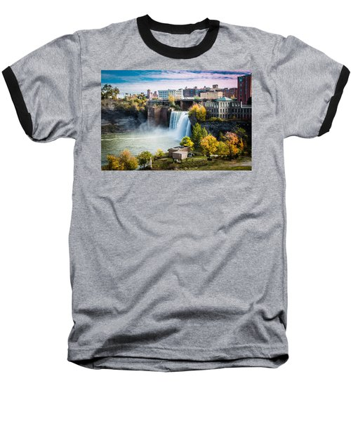 High Falls Rochester Baseball T-Shirt by Sara Frank