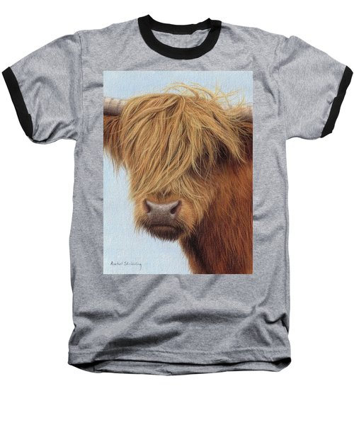 Highland Cow Painting Baseball T-Shirt