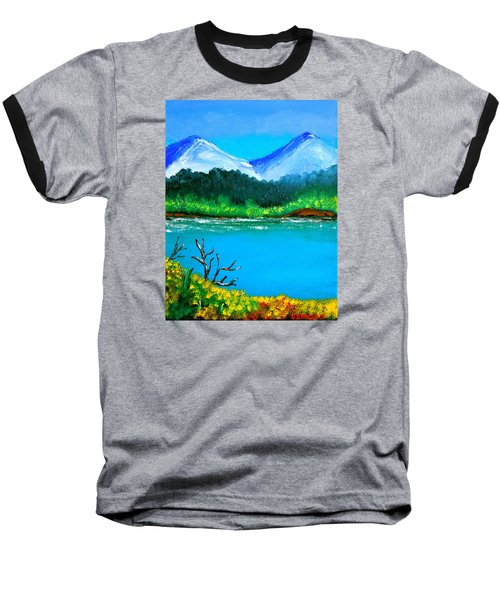 Baseball T-Shirt featuring the painting Hills By The Lake by Cyril Maza