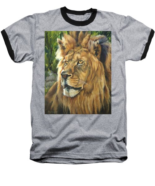 Him - Lion Baseball T-Shirt by Lori Brackett