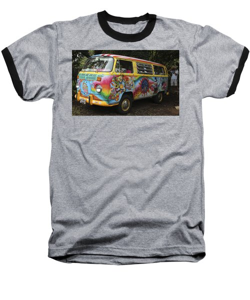 Vintage 1960's Vw Hippie Bus Baseball T-Shirt by Venetia Featherstone-Witty