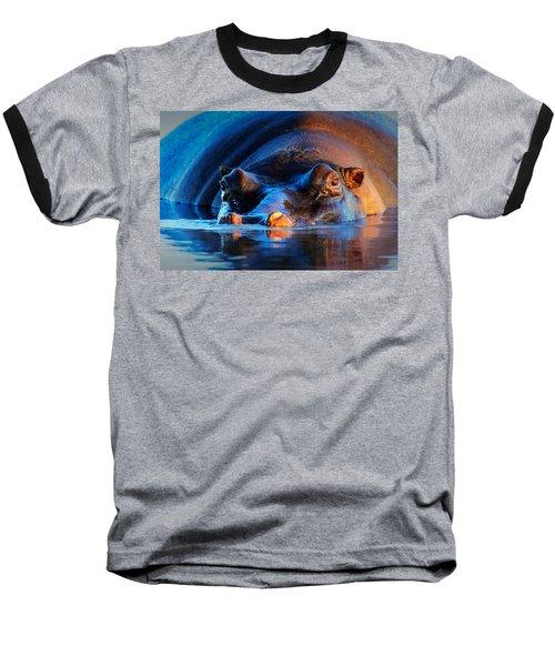 Hippopotamus  At Sunset Baseball T-Shirt by Johan Swanepoel