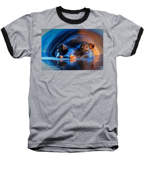 Hippopotamus  At Sunset Baseball T-Shirt