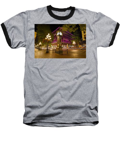 Baseball T-Shirt featuring the photograph Historic Steam Clock In Gastown Vancouver Bc by JPLDesigns